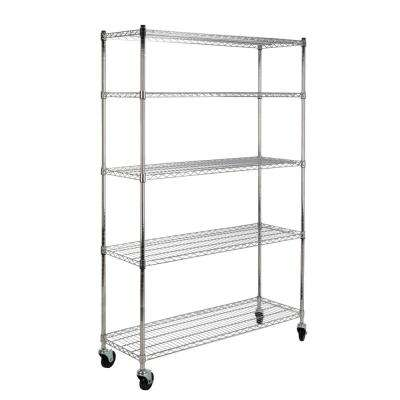 Nathalie 70.8 in. 5-Shelf Wire Rack, Chrome