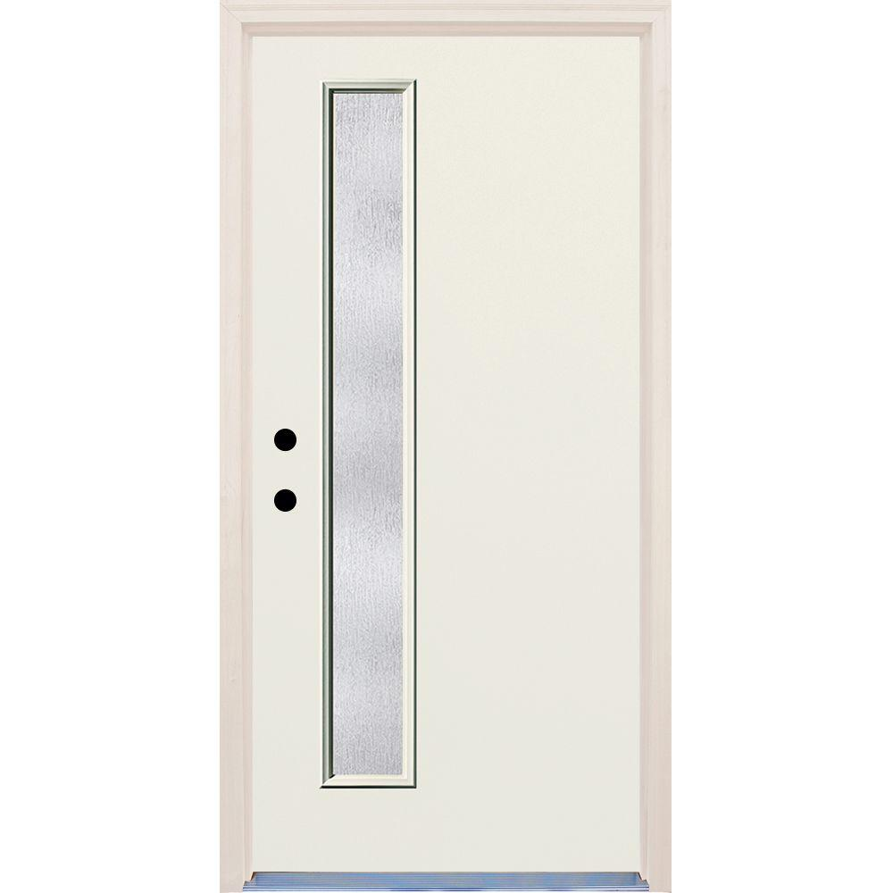 Builder's Choice 36 in. x 80 in. Right-Hand 1 Lite Rain Glass Unfinished Fiberglass Raw Prehung Front Door with Brickmould