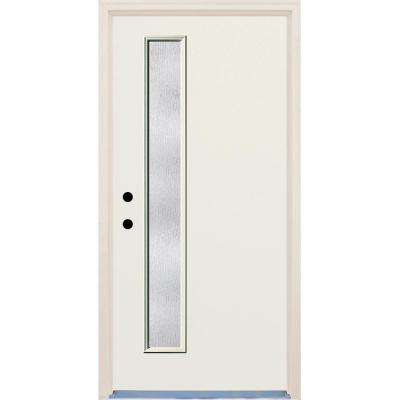 36 in. x 80 in. Right-Hand 1 Lite Rain Glass Unfinished Fiberglass Raw Prehung Front Door with Brickmould