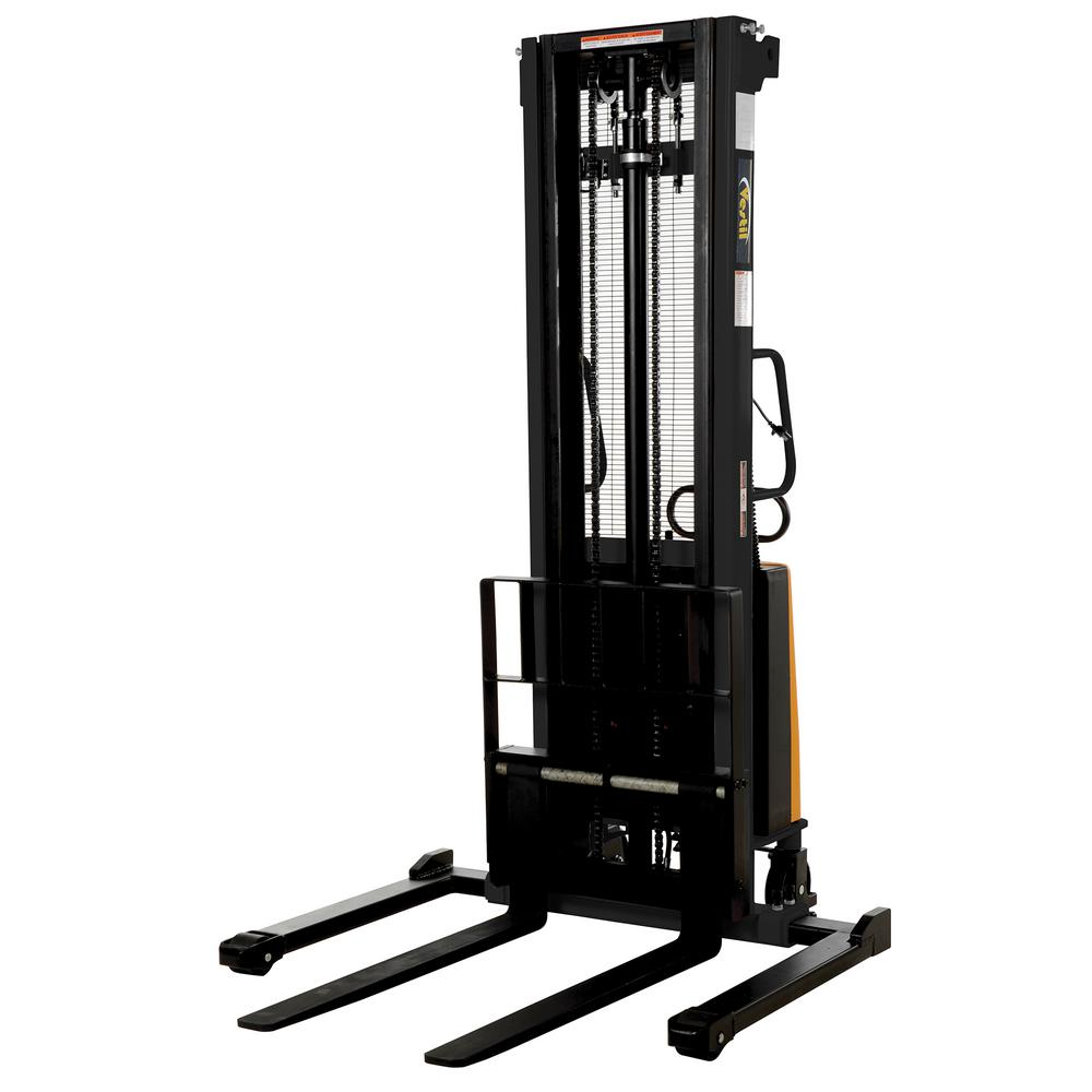 Vestil 2,000 lb  Capacity 137 in  High Stacker with Powered Lift with  Adjustable Forks Over Adjustable Support Legs