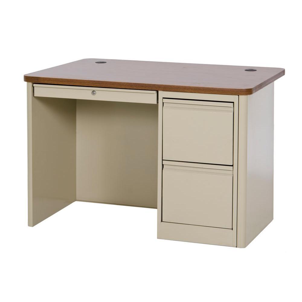 900 Series Single Pedestal Heavy Duty Teachers Desk in Putty/Medium Oak