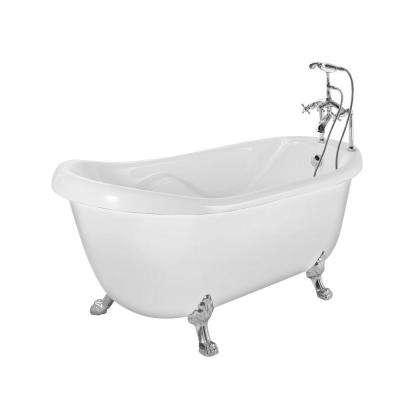 5.6 ft. Acrylic Slipper Clawfoot Non-Whirlpool Bathtub in White