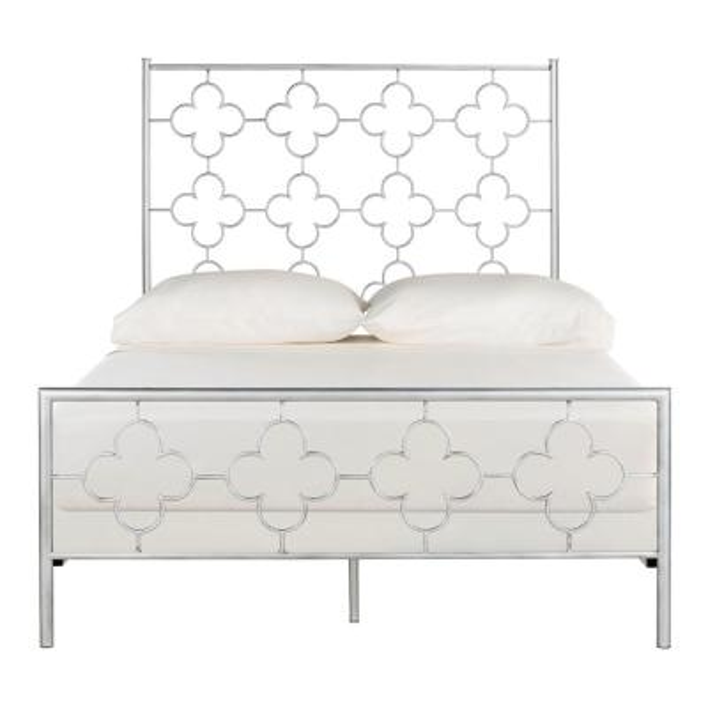 Morris Lattice Metal Antique Silver Queen Bed