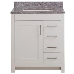Westcourt 31 in. W x 22 in. D Bath Vanity in Cream with Stone Effect Vanity Top in Mineral Gray with White Sink
