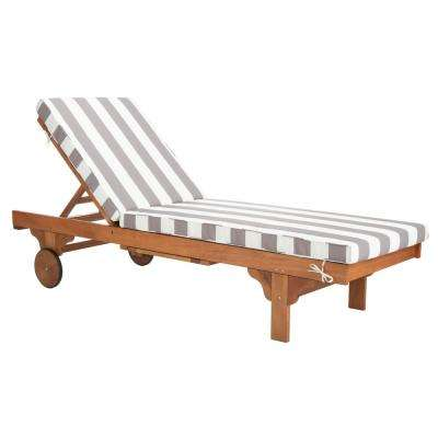 Newport Natural Brown Adjustable Wood Outdoor Lounge Chair with Grey and White Cushion