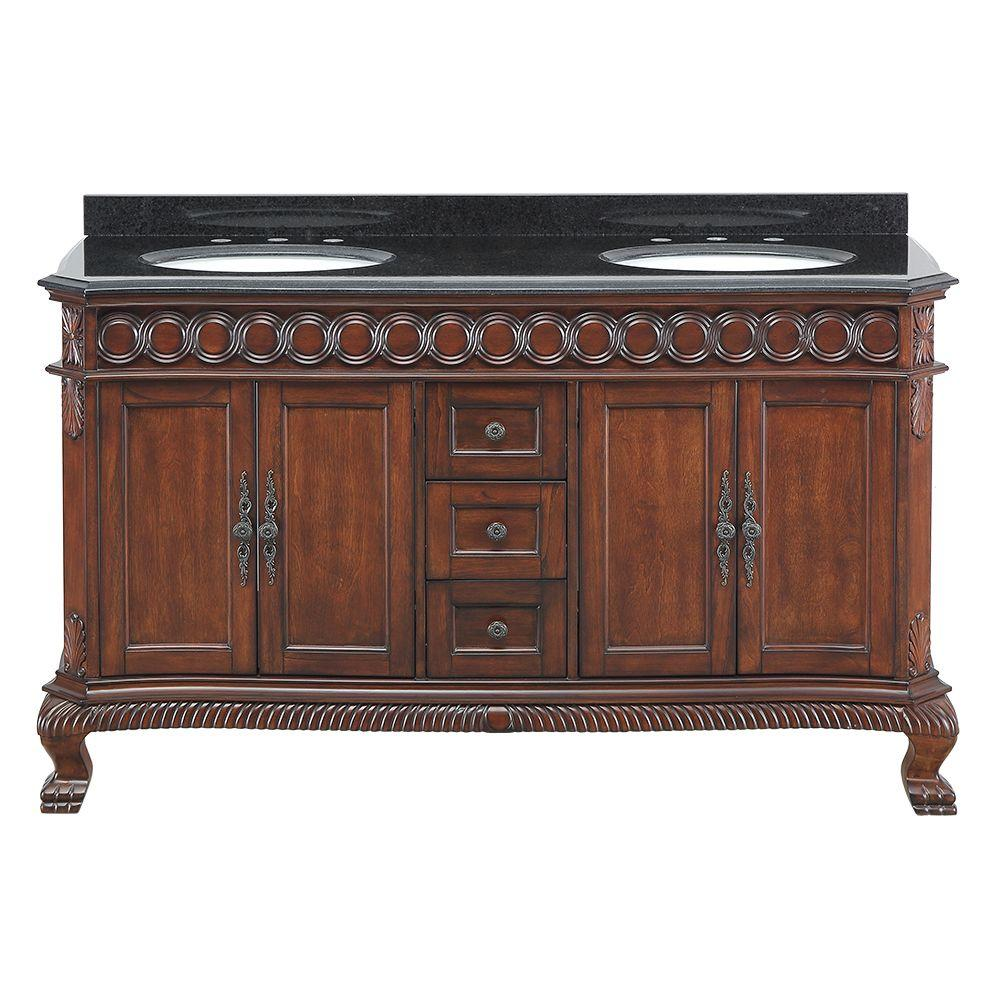 Jordheim 61 in. Vanity in Antique Cherry with Granite Vanity Top
