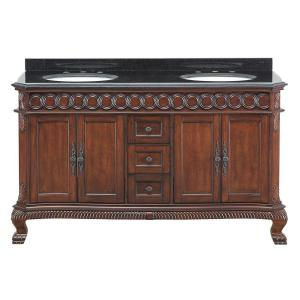Belle Foret Jordheim 61 In. Vanity In Antique Cherry With Granite Vanity  Top In Black And Double White Basins JHACVT6122   The Home Depot