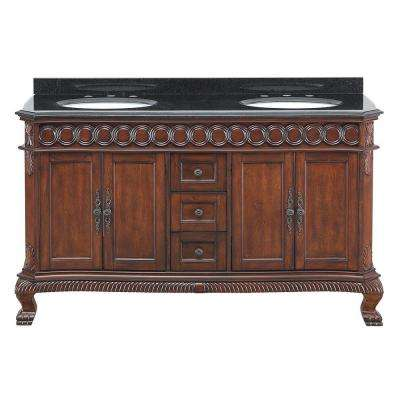 Jordheim 61 in. Vanity in Antique Cherry with Granite Vanity Top in Black and Double White Basins