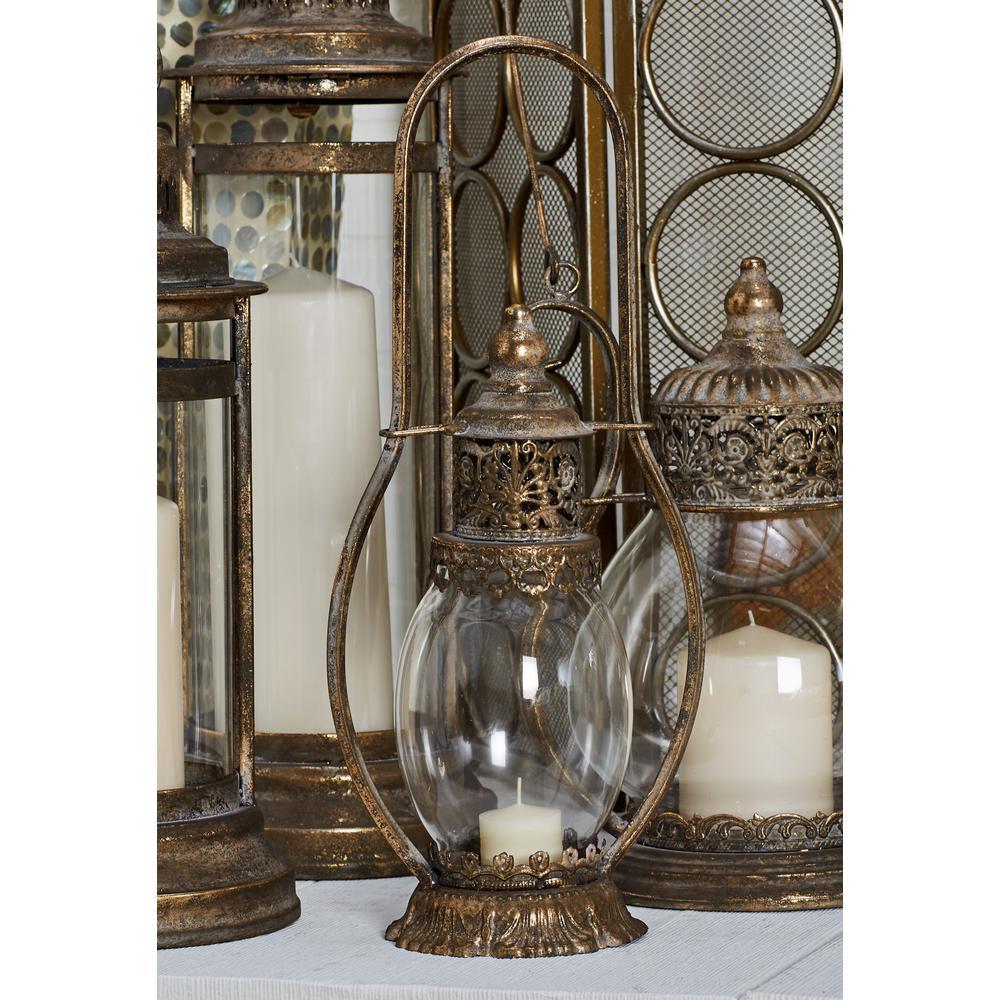 Litton Lane Tarnished Brass Candle Lantern with Handle