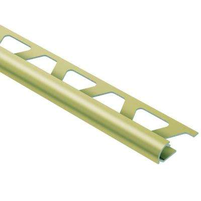 Rondec Satin Brass Anodized Aluminum 3/8 in. x 8 ft. 2-1/2 in. Metal Bullnose Tile Edging Trim