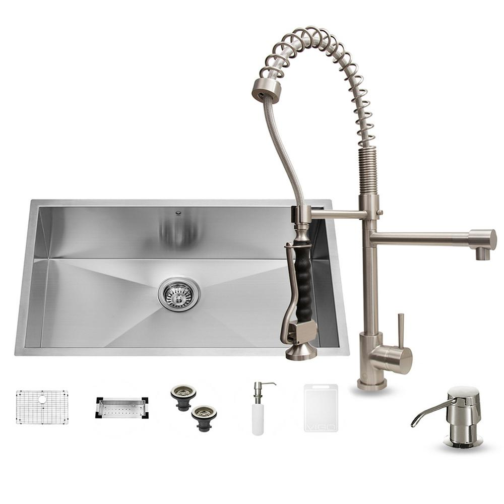 VIGO All In One Undermount Stainless Steel 32 In. 0 Hole Single Bowl  Kitchen Sink Set In Stainless Steel VG15067   The Home Depot
