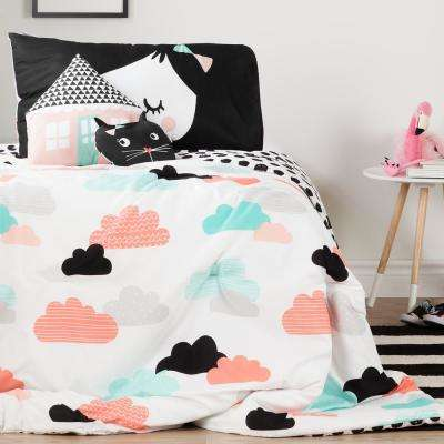 DreamIt Black and White Night Garden Twin Comforter Set and Throw Pillows