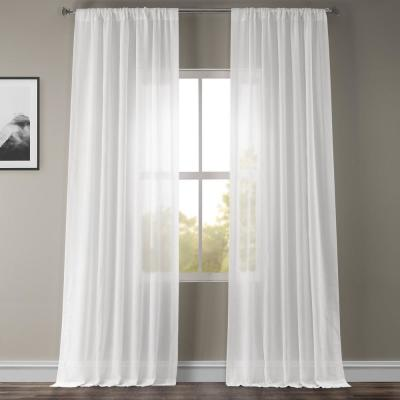 White Orchid Faux Linen Sheer Curtain - 50 in. W x 96 in. L