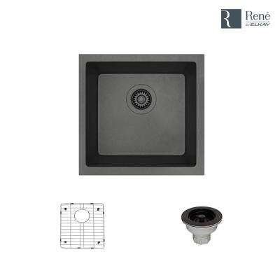 Dual-mount Composite Granite 17-3/4 in. Single Bowl Kitchen Sink in Carbon