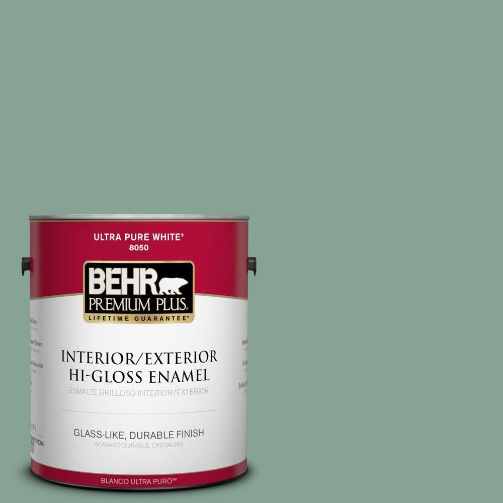 1 gal. #T16-12 Modern Mint Interior/Exterior Hi-Gloss Enamel Paint
