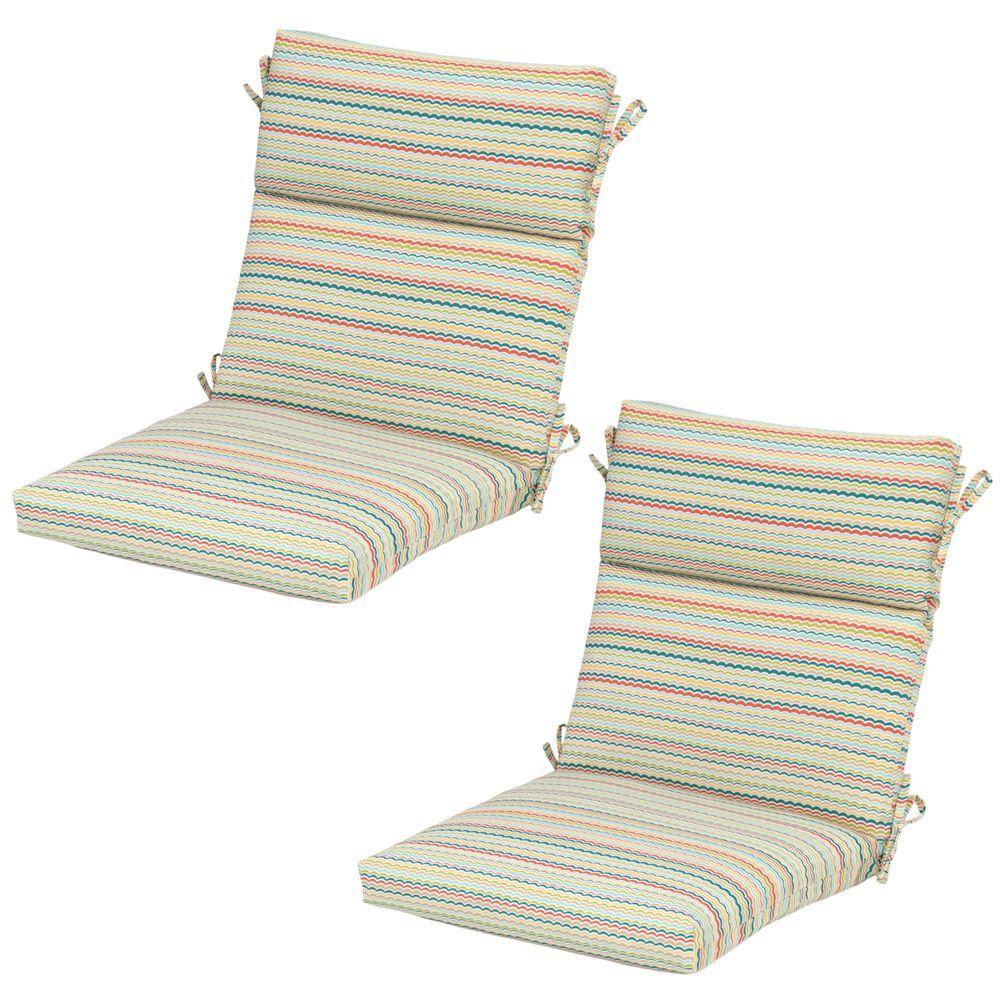 Hampton Bay Frida Trellis Outdoor Dining Chair Cushion (2-Pack ...