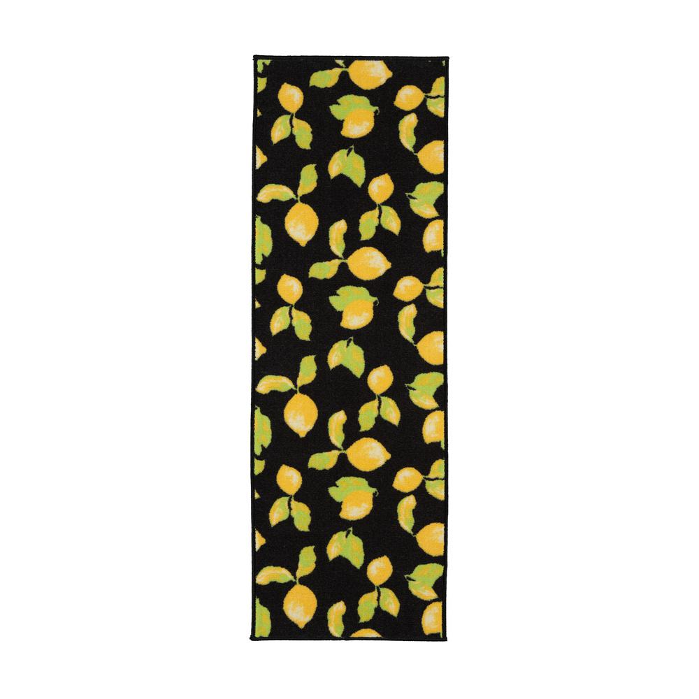 Ottomanson Lemon Collection Black 1 ft. 8 in. x 4 ft. 11 in. Lemon Design Runner Rug