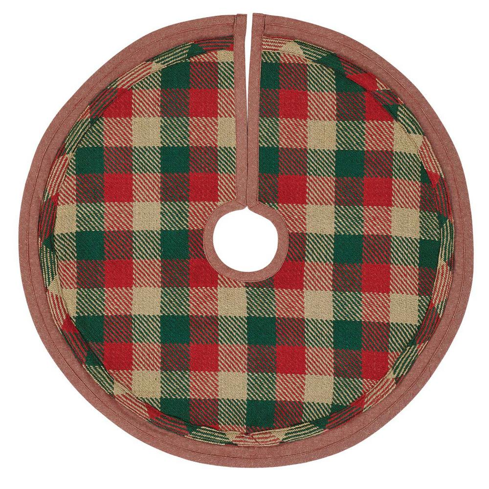 Mini Christmas Tree Skirt Pattern.Vhc Brands 21 In Cotton Reed Ruby Red Rustic Christmas Decor Mini Tree Skirt