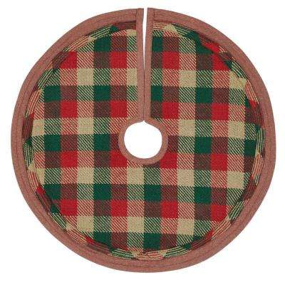 21 in. Cotton Reed Ruby Red Rustic Christmas Decor Mini Tree Skirt