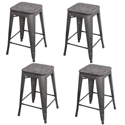 Loft Style 24 in. Rustic Gunmetal Metal Bar Stool with Wood Seat (Set of 4)