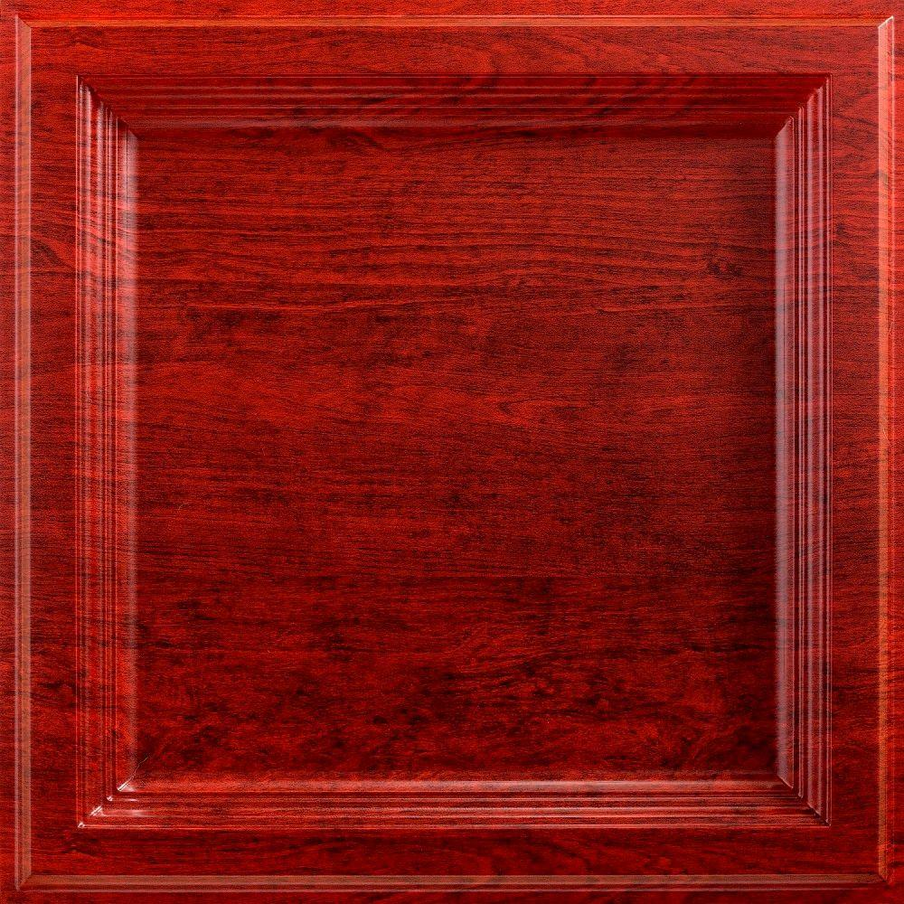 fasade classic coffer 2 ft. x 2 ft. lay-in ceiling tile in cherry