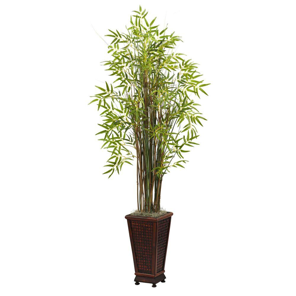 Nearly Natural 5.5 ft. Grass Bamboo Plant with Decorative Planter