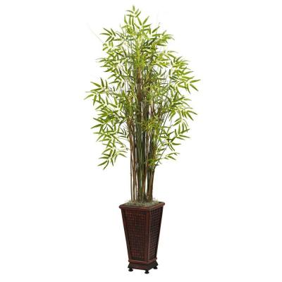 5.5 ft. Grass Bamboo Plant with Decorative Planter