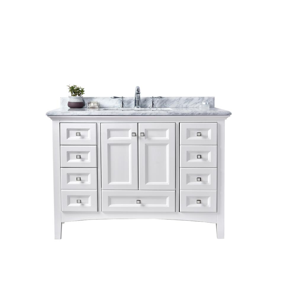 Ari Kitchen And Bath Luz 42 In Single Vanity White With Marble Top Carrara Basin