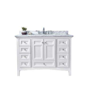 Luz 42 in. Single Bath Vanity in White with Marble Vanity Top in Carrara White with White basin