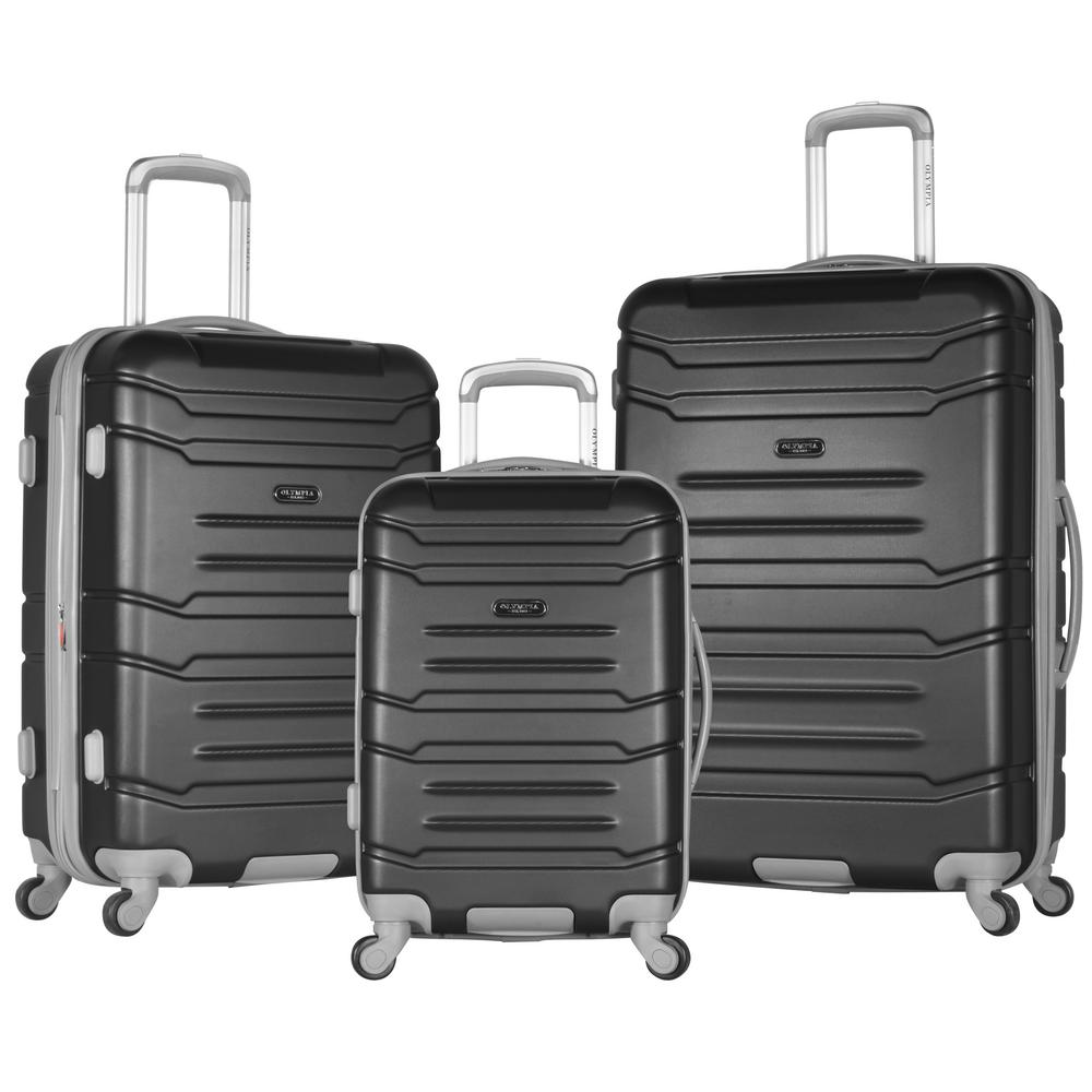 Olympia USA DENMARK 3-Piece ABS Expandable Hardcase Spinner Set, Black was $500.0 now $250.0 (50.0% off)