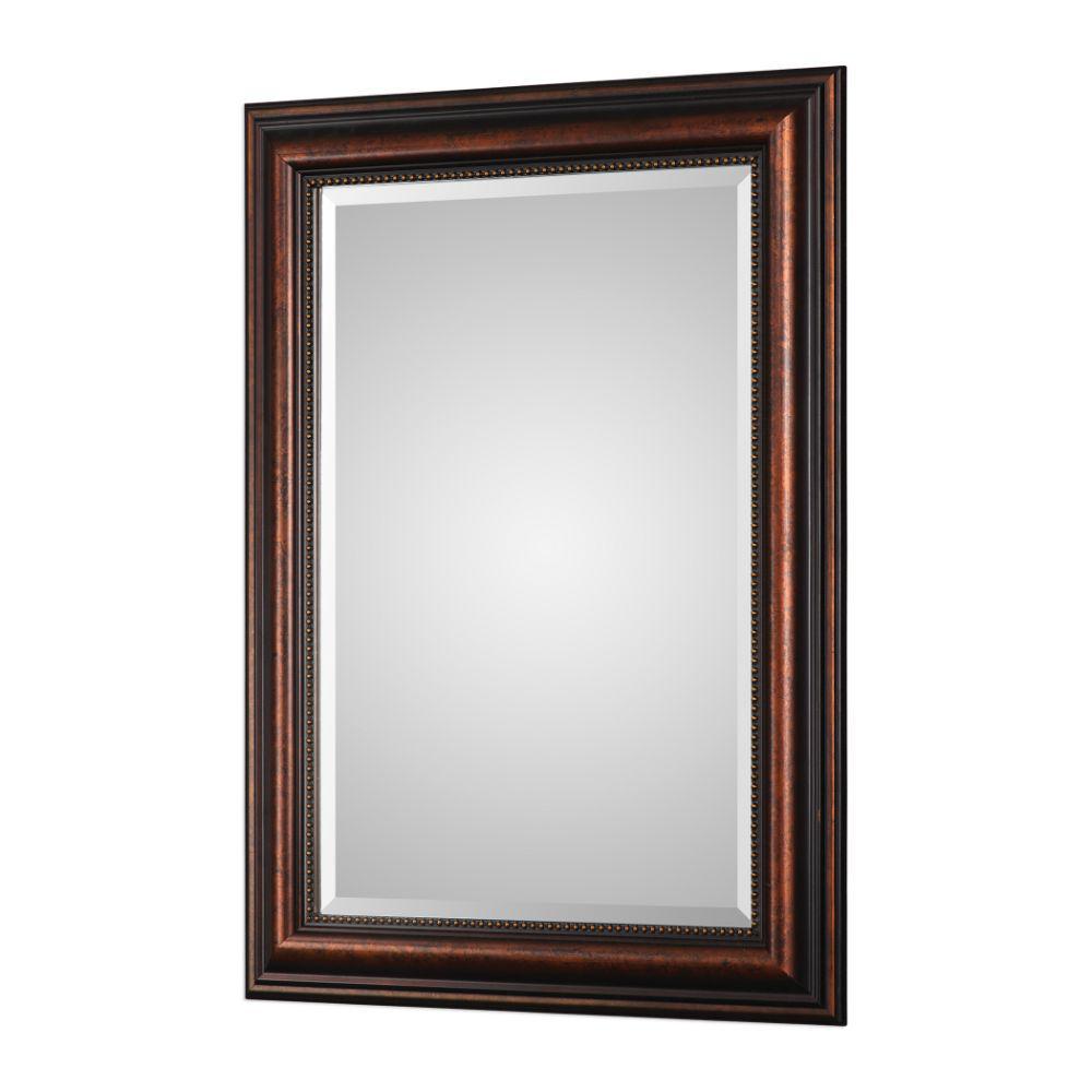 Medium Rectangle Brown Mirror (36.75 in. H x 26.75 in. W)