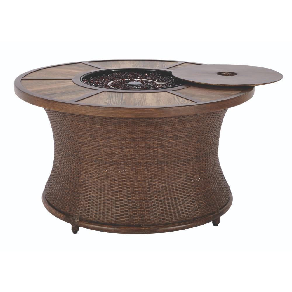 Home Decorators Collection Port Elizabeth 23.5 in. Grouted Porcelain Fire Pit in Brown with Alum Rim