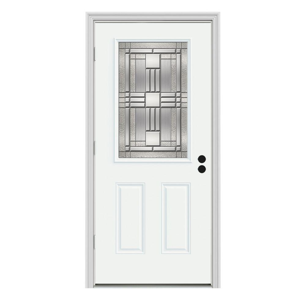 JELD-WEN 34 in. x 80 in. 1/2 Lite Cordova White Painted Steel Prehung Right-Hand Outswing Front Door w/Brickmould