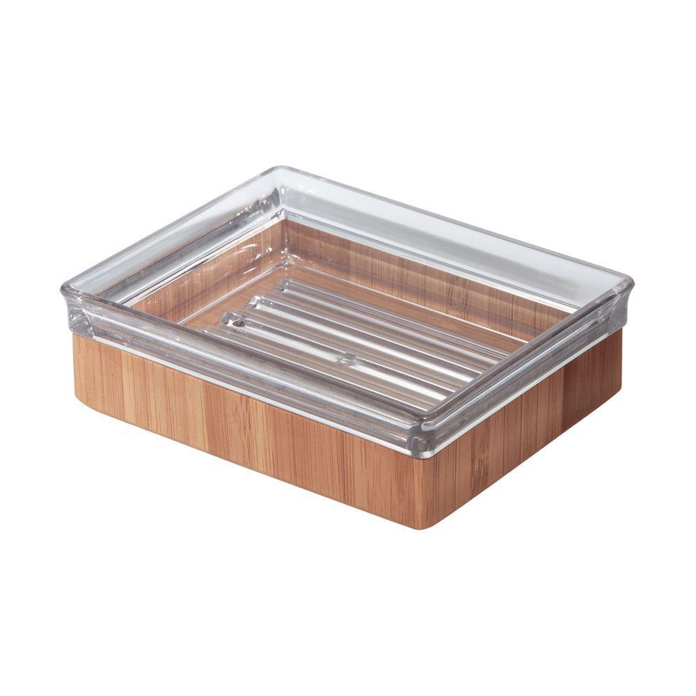 Formbu Countertop Soap Dish in Clear/Bamboo