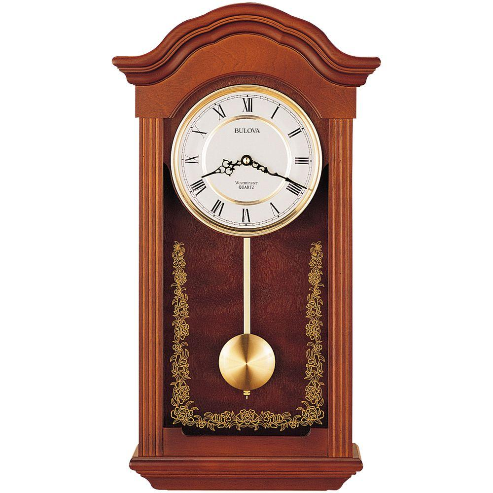 Bulova 225 in h x 1225 in w pendulum chime wall clock for Bulova pendulum wall clock