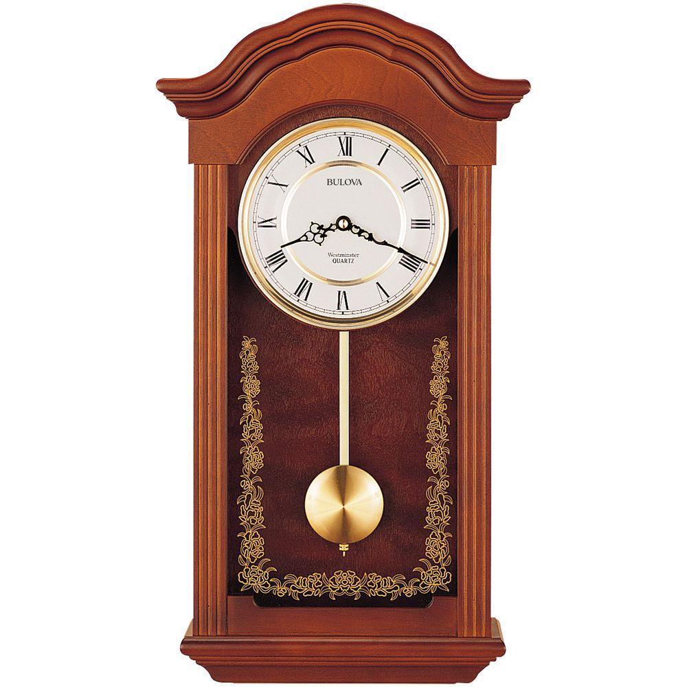 22.5 in. H x 12.25 in. W Pendulum Chime Wall Clock