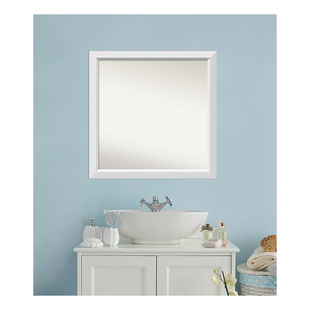 Medium Square White Modern Mirror (32 in. H x 32 in. W)