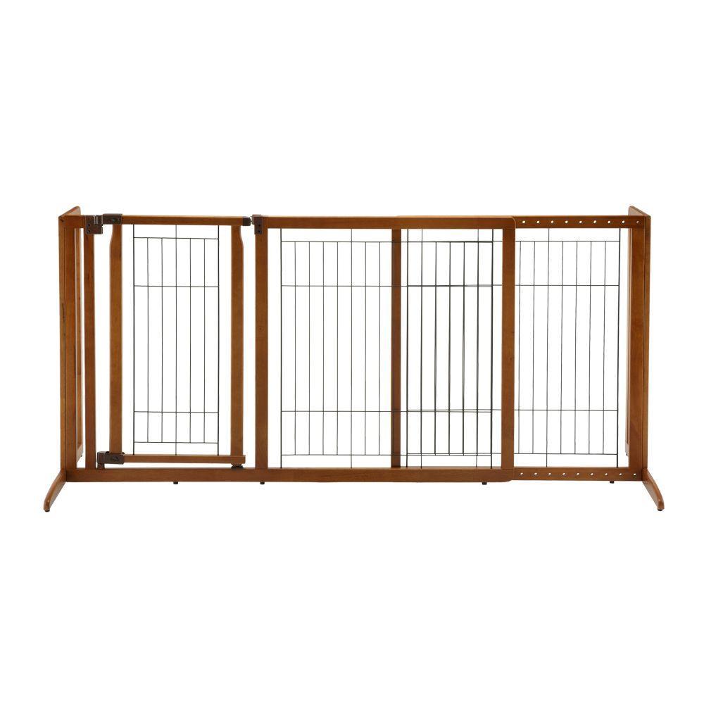 Richell Medium Wood Deluxe Freestanding Pet Gate With Door