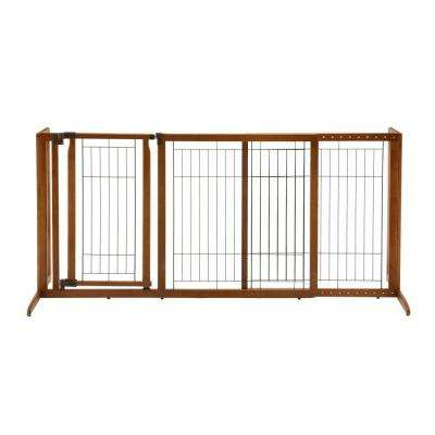 Medium Wood Deluxe Freestanding Pet Gate with Door