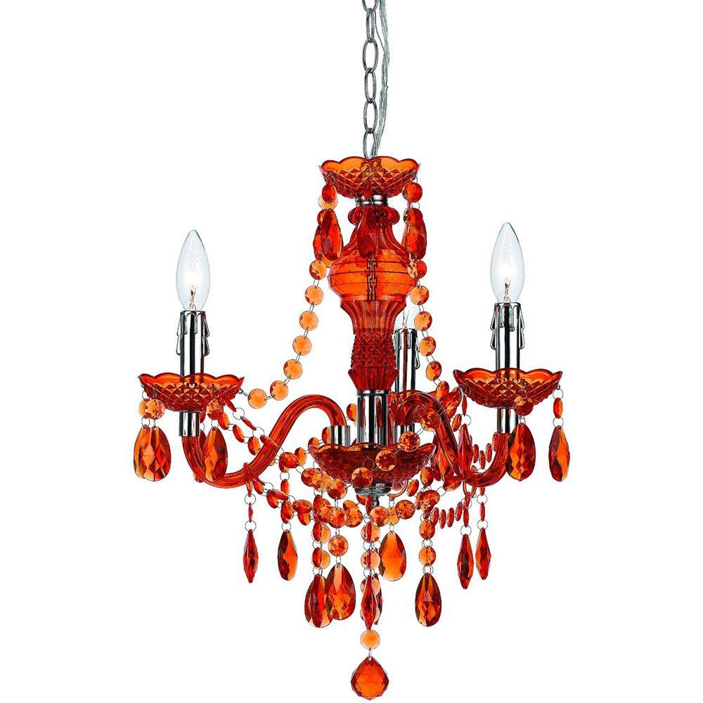 Crystal Orange Chandeliers Lighting The Home Depot - Orange chandelier crystals