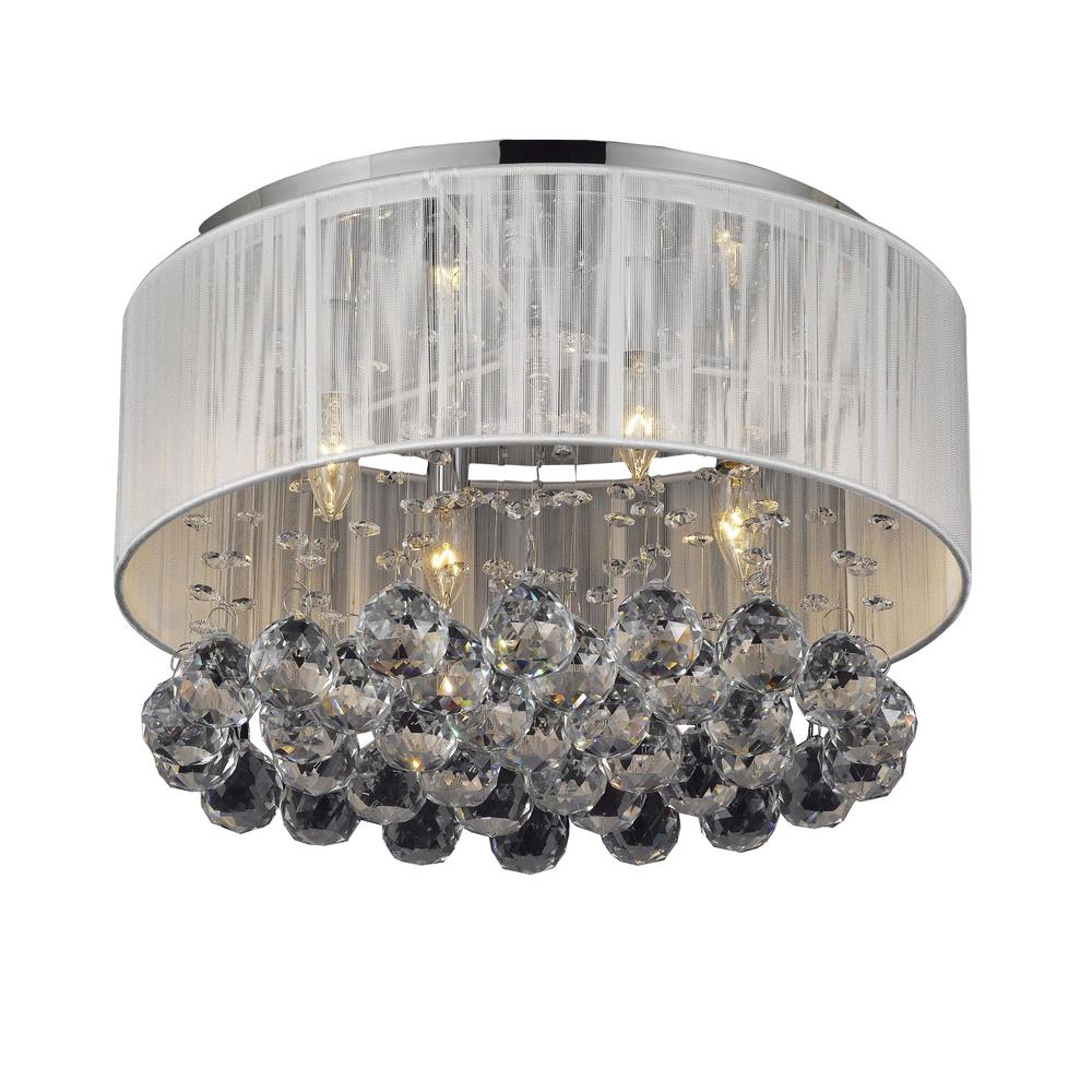 Empress Crystal 4 Light Chrome Flushmount With White Shade