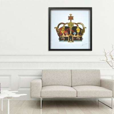 "30 in. x 30 in. ""Crown with Round Arches"" by Alex Zeng in Solid Black Frame Hand Made Art Collage"