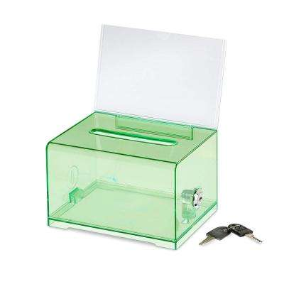 Acrylic Clear Locking Suggestion Box, Crsytal Green
