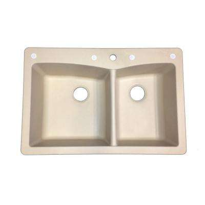 Saratoga Dual Mount Granite Composite 33 in. 1-Hole 1-3/4 Basin Kitchen Sink in Bisque
