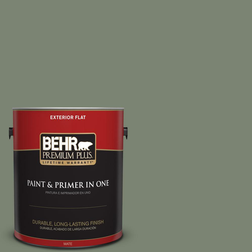 Behr Premium Plus 1 Gal Icc 77 Sage Green Flat Exterior Paint And