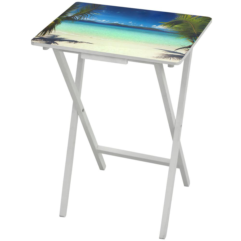 Oriental Furniture Oriental Furniture 19 In. X 13.75 In. Caribbean Beach TV  Tray In