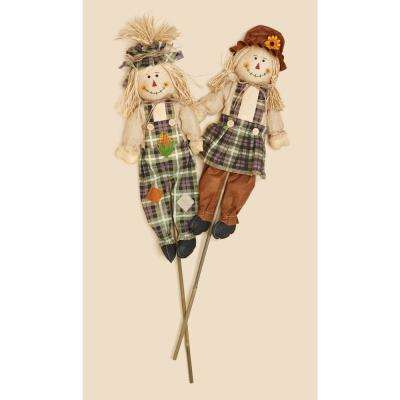 36 in. Boy and Girl Scarecrow with Burlap Shirt (Set of 2)