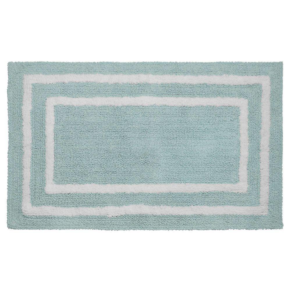 Reversible Cotton Soft Double Border Aquatic Blue 21 in. x 34 in. Bath Mat
