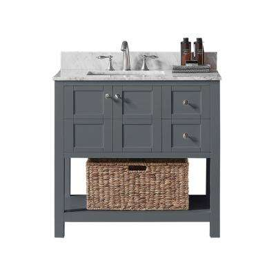 Makena 36 in. W x 22 in. D x 34.2 in. H Bath Vanity in Cashmere Grey with Marble Vanity Top in White with White Basin