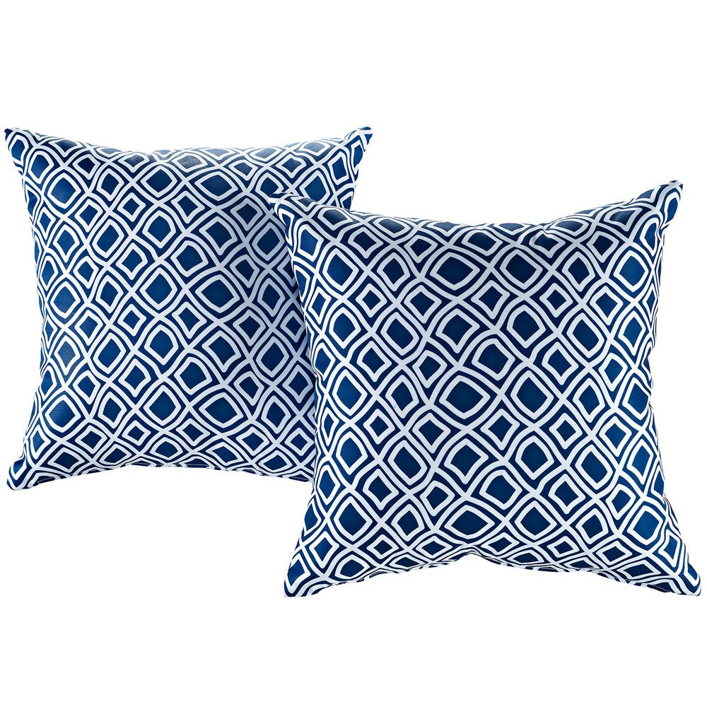 MODWAY Patio Square Outdoor Throw Pillow Set in Balance (2-Piece)